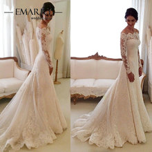 IM176 Romantic Boat Neck Long Sleeves Lace Wedding Dress 2016 Bride Dress Empire Bridal Gown E-Marry Sweep Train(China (Mainland))