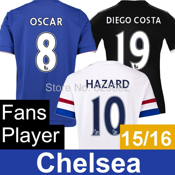 Chelsea Jersey 2016 FALCAO OSCAR HAZARD Chelsea white Soccer Jersery 15 16 DIEGO COST Blue Black Football Shirt Uniform FC 3+++A(China (Mainland))