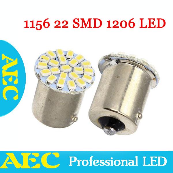 HK post free S25 P21W 1156 BA15S 22 leds SMD 22smd 1206 3020 LED car turn reverse parking light bulb lamp DC12V RED YELLOW BLUE(China (Mainland))