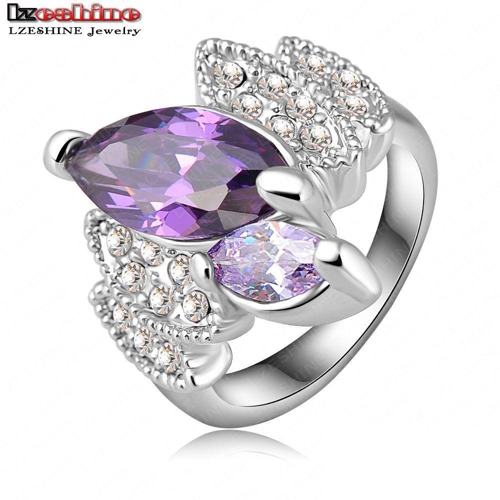 Hot Sale Graceful Violet Engagement /Wedding Rings Platinum Plate Cz Crystals Fashion Jewelry aliancas de casamento Ri-HQ0151(China (Mainland))