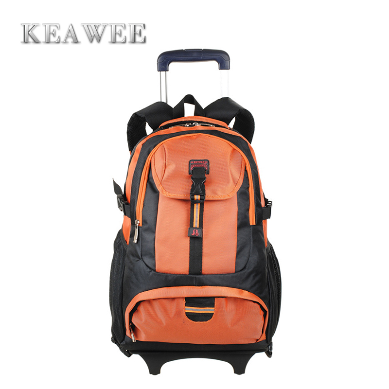 2015 New High School Students Trolley Bags Middle Backpack Nylon Boys Bag Girls Case