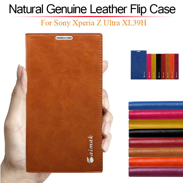 8 color,Natural Genuine Leather Stand Flip Case for Sony Xperia Z Ultra XL39H Luxury Mobile Phone Cases(China (Mainland))