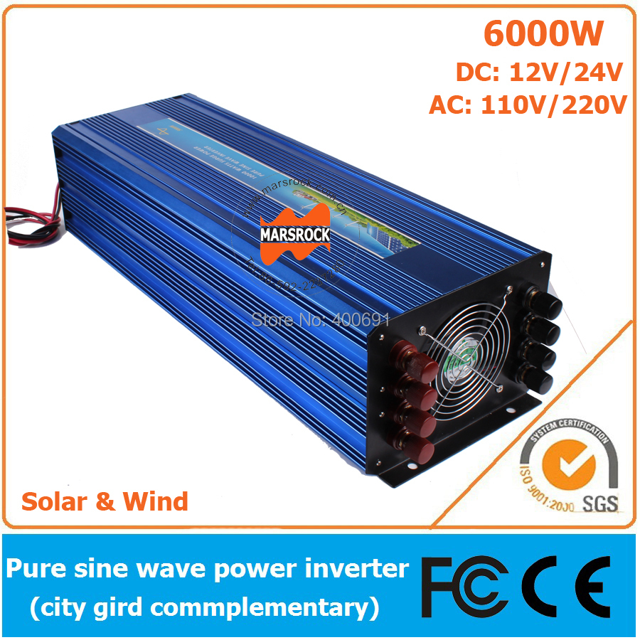 6000W DC12V/24V OffGrid Pure Sine Wave Solar or Wind Inverter, City Electricity Complementary Charging Function with LCD Screen(China (Mainland))
