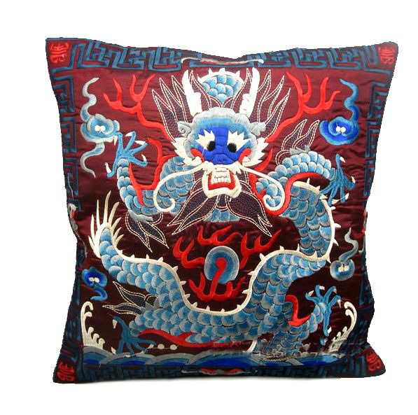 1pair/2pieces Chinese Classical Royal Style Silk Embroidered Purple Red Dragon Cushion Covers Pillow Bag(China (Mainland))