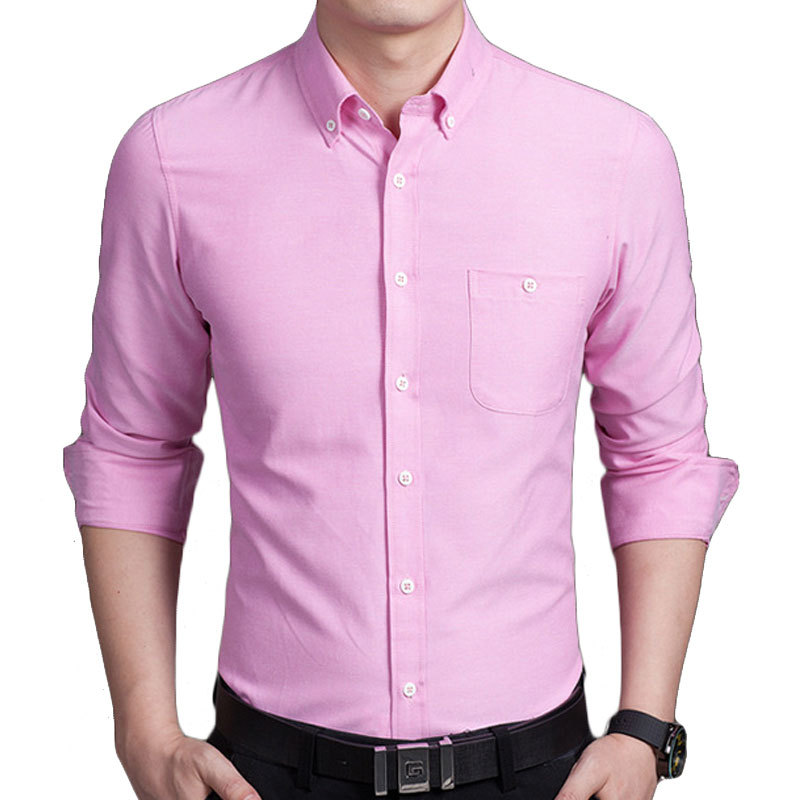 New pink men shirt long sleeve chemise homme 2016 fashion for Pink oxford shirt men