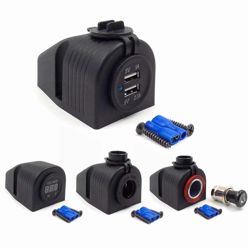 DIY Module 1 Hole Panel Power Adapter 5V 2.1A USB Charger ,Cigarette Lighter Sockets,Voltmeter for Car Truck Motorcycle Boat ATV(China (Mainland))
