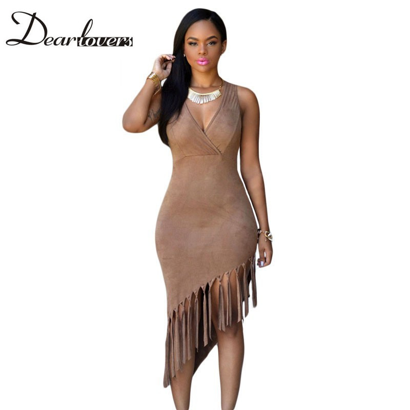 Hot 2016 Summer Sleeveless V neck Borwn Fringe Tassel Dress Faux Suede bodycon Dress sexy club dresses vestidos mujer LC60598(China (Mainland))