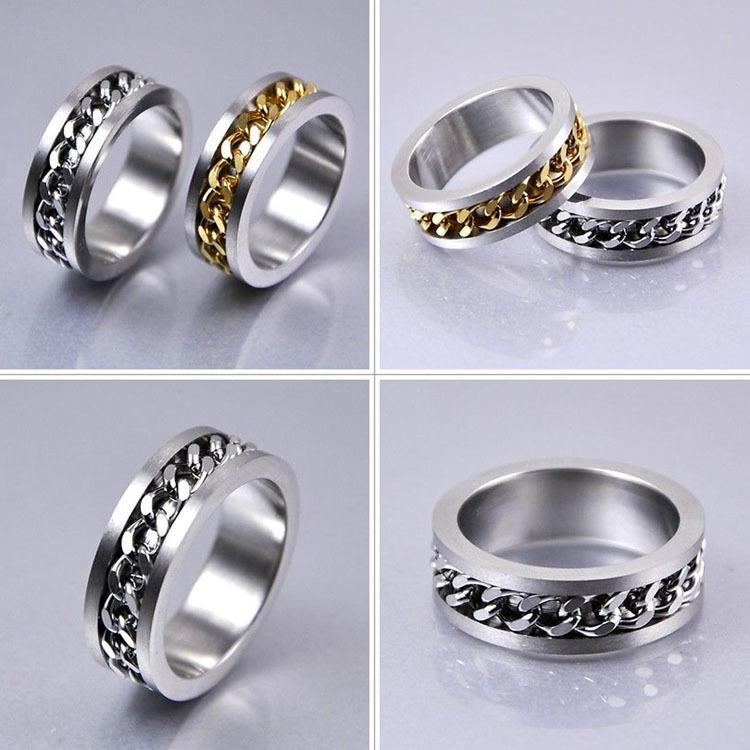 Fashion Rotation Male Ring Stainless Steel Gold Silver Men Rings Fine Jewelry 2 Colors(China (Mainland))