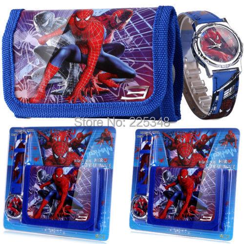 Spider Man Children's Watch Wallet Set For Kids Boys Girls Great Christmas Gift(China (Mainland))