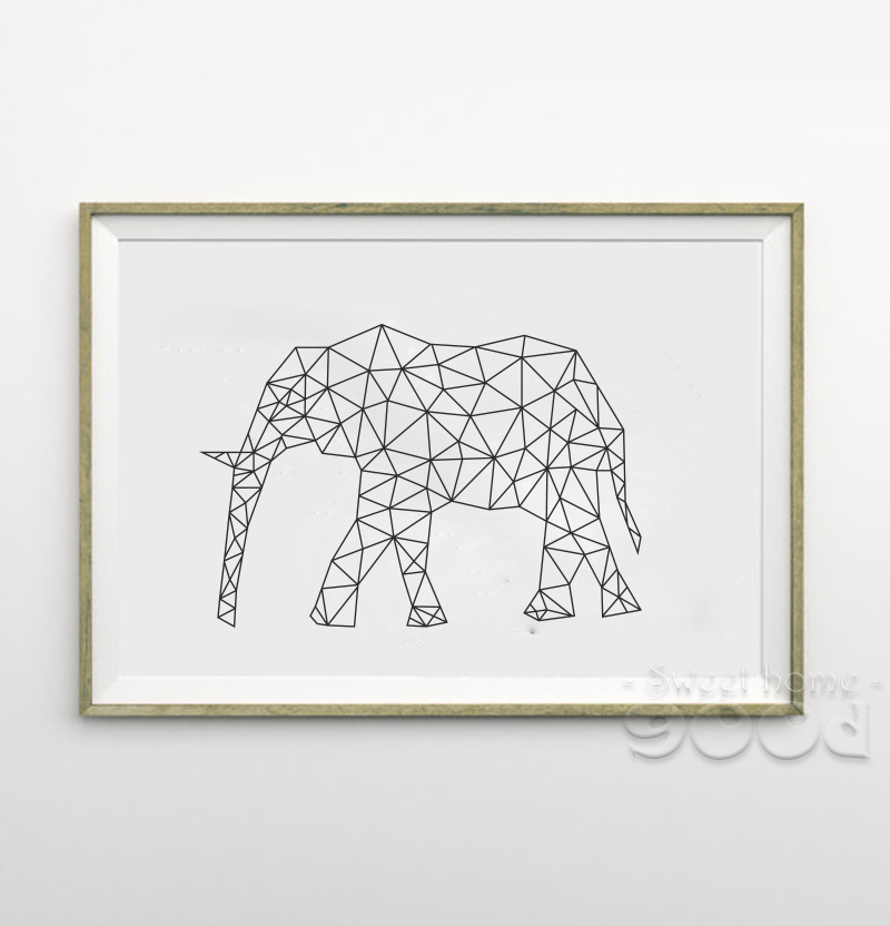 Buy geometric elephant canvas art print for Buy canvas wall art