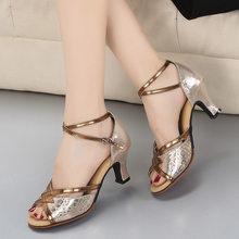 Dames schoen vrouwen dansschoenen latin ballroom dans schoenen vrouwen tango schoenen peep toe hoge hakken 5.5cm goud zilver bruiloft schoenen(China)