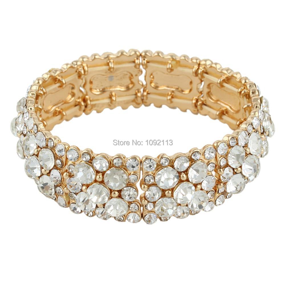 BELLA 2015 Round Rhinestone Gold Plated Austrian Crystal Bridal Bangle For Women Wedding Bracelet For Bride & Bridesmaid Jewelry
