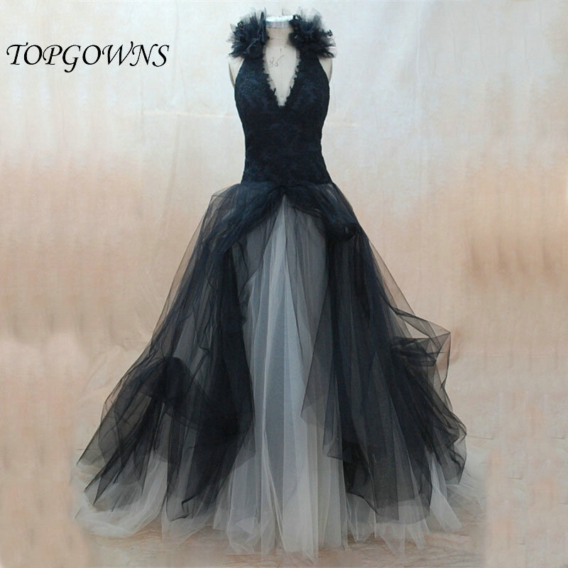 Halloween Wedding Gowns: Black White Halloween Wedding Dress Halter Lace Applique