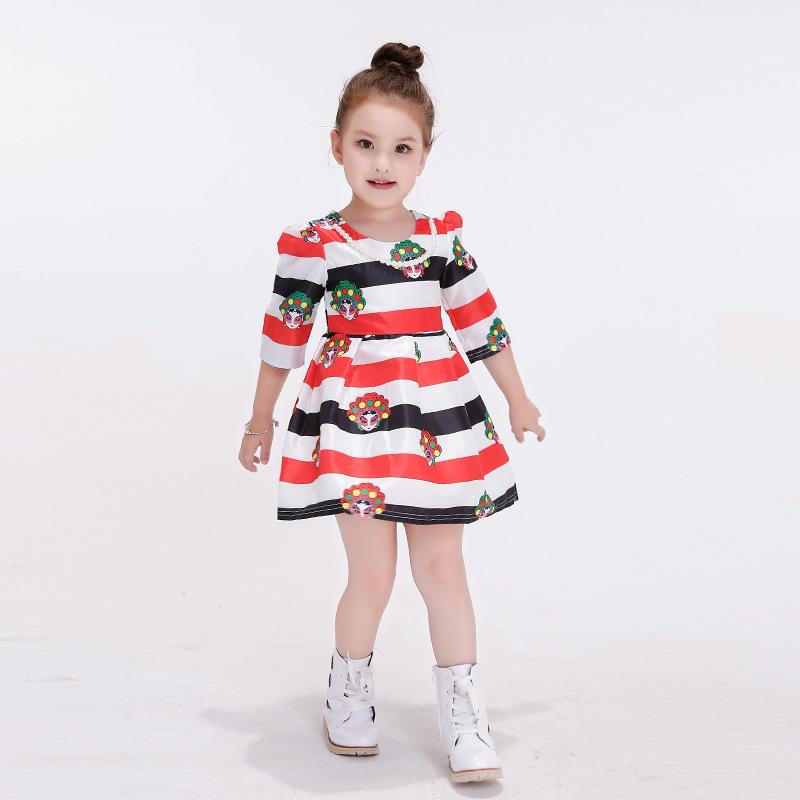 Knee-length Casual Dress Girl Elbise Kids Clothes Girls Vestido Menina Jurk Meisje Meninas Baby Frock Designs Christmas 184(China (Mainland))