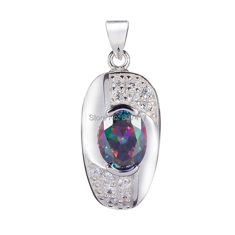 Wholesale sporty CZ Rainbow Mystic Topaz Cubic Zirconia S 925 sterling Silver fashion Beautiful Pendants S--3719(China (Mainland))
