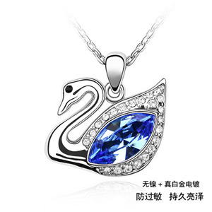 Exquisite party Jewelry for women designer swan pendant necklace made with Swarovski Elements fashion crystal necklaces(China (Mainland))