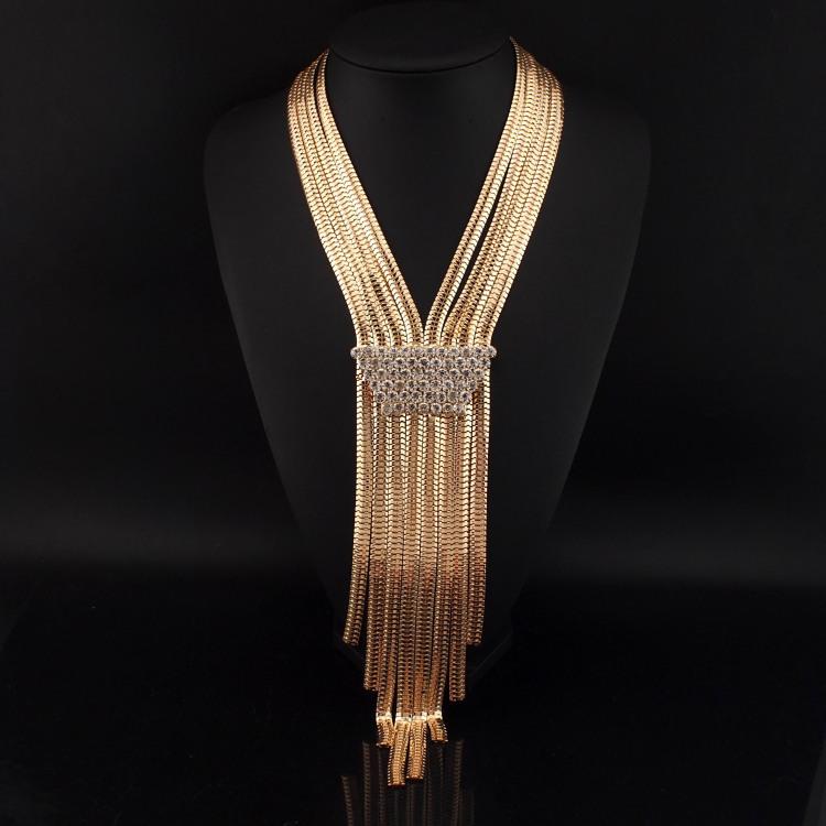 Aliexpress.com Comprar 2015 nuevas para mujer del partido collares largos moda piedras Weldding serpiente collares de cadena larga para mujeres vestido de