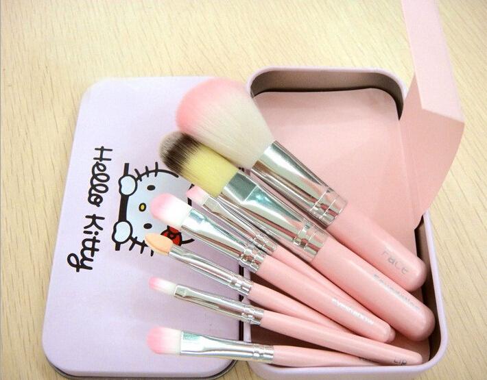 7Pcs/Set 2015 New Fashion Hello Kitty Makeup Brushes Set Powder Foundation Eyeshadow Eyeliner Lip Cosmetic Brush Tool(China (Mainland))