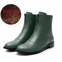 Kadın düz zip Çizmeler Hakiki deri Ayak Bileği kısa siyah sonbahar çizmeler kadınlar için kayma kışlık botlar 2019 ayakkabı chelsea çizmeler(China)