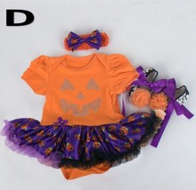 2015 Baby Girl Halloween Clothing Sets Pumpkin tutu Romper Dress+Shoes+Headband Infant 3pcs Set Toddler Jumpsuit Costumes(China (Mainland))