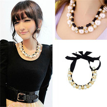 Buy Imitation Simulated Pearl Rhinestone Statement Necklace Elegant Choker Female Band New Short Necklaces & Pendants Women for $3.68 in AliExpress store