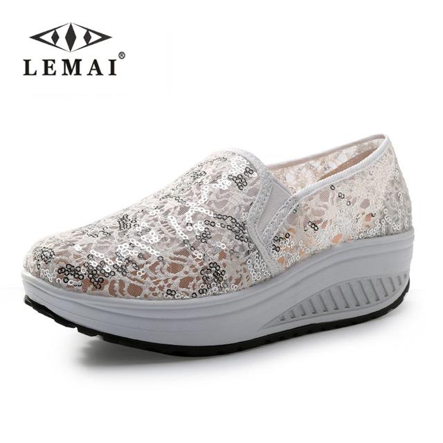 Мода похудеть женщин клин обувь весна лето осень качели женский кружева zapatillas ...