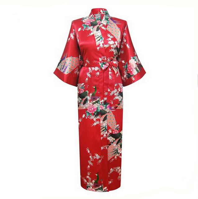 Новое китайский стиль шелковый район длинный халат женщины сексуальная интимные кимоно ...