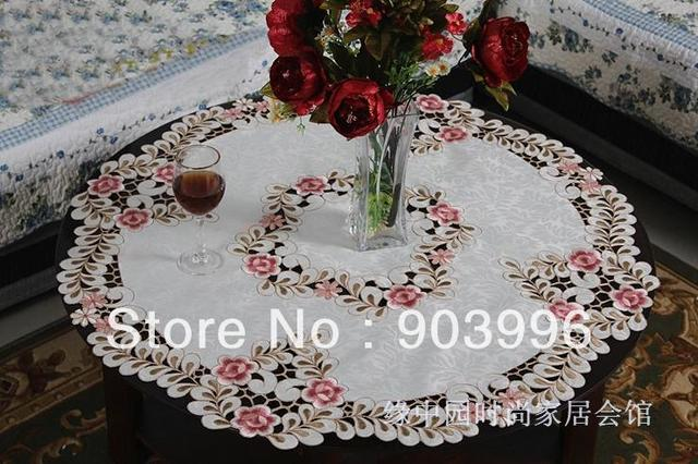 6730 Free Shipping-embroidery fabric table cloth rectangle wedding tablecloths wedding table cloths, SIZE:round 83cm