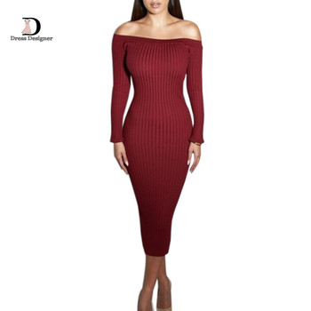 Fashion Long Sleeve Slash Neck Sexy Club Women Dress Bodycon Knitted Sweater Knee-Length Party Night Dresses