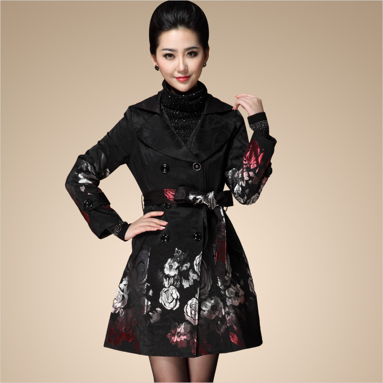 2014 Spring New women's rose jacquard plus size slim medium-long trench outerwear windbreaker coat S M L XL XXL XXXL XXXXL - NATIONAL FASHION LADY store