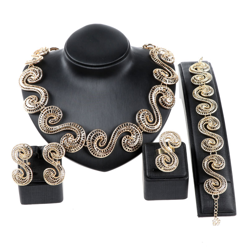 Fashion Dubai Jewelry Set Gold Color Nigerian Wedding African Beads China Clouds Necklace Earring Jewelry Sets Bijoux Femme(China (Mainland))
