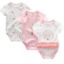 2019 3PCS/Lot Baby Girl Clothes 100%Cotton 0-12M Unicorn Baby Boy Clothes Newborn Bodysuits Girls Clothing Roupas de bebe(China)