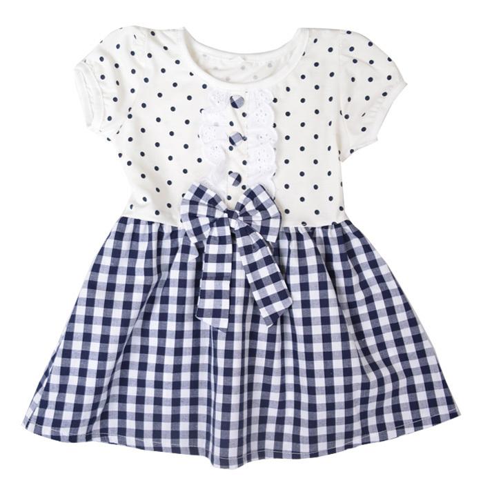 Free Shipping Kids Summer Short Sleeves Dress Polka Dot Tops Girls Check Pattern Dress A2010(China (Mainland))