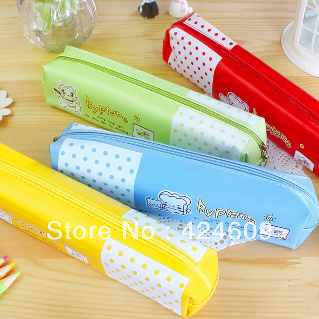 Black korea stationery candy color dot leather pencil case stationery bags grocery bags g64
