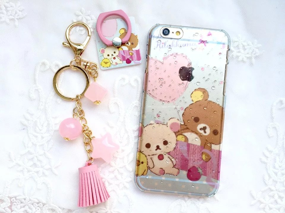 Cute silicone soft TPU bear handmade chain ring case for iPhone 6plus/6S plus free shopping(China (Mainland))