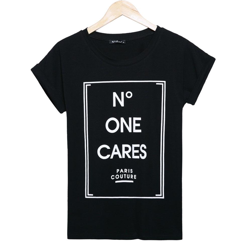 2015 fashion brand t shirt women n degree one cares for Single print t shirt