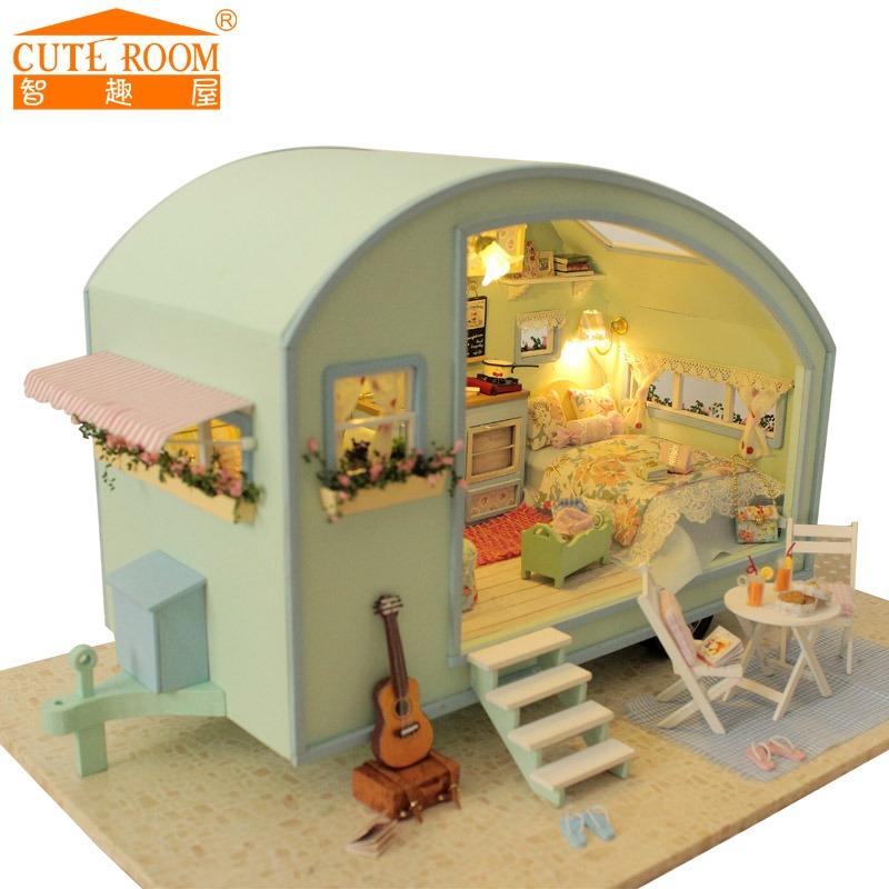 DIY Кукольный Дом Деревянные Дома Куклы Миниатюрный кукольный домик Мебель Комплект Игрушки для детей Подарок путешествия