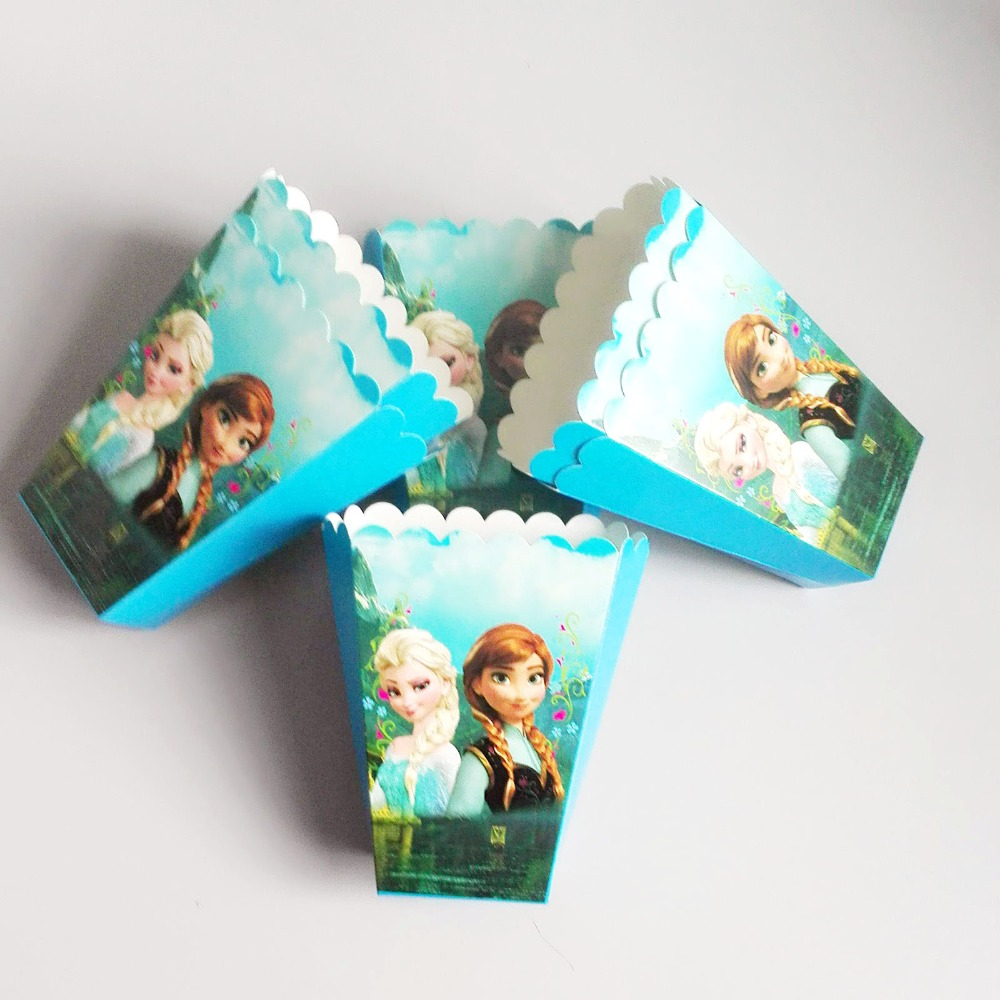 6 pcs/lot Ice and Snow cartoon theme birthday party decorations kids popcorn box candy box girls favor suppliers disposable03(China (Mainland))