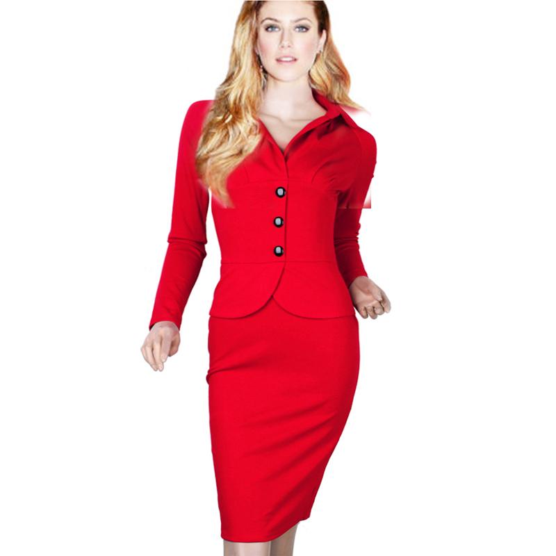 A3117 Sheath Women Dress Turn Down Collar Polo Neck Long Sleeve Cheap Women Dress Solid Office American Express Clothing(China (Mainland))