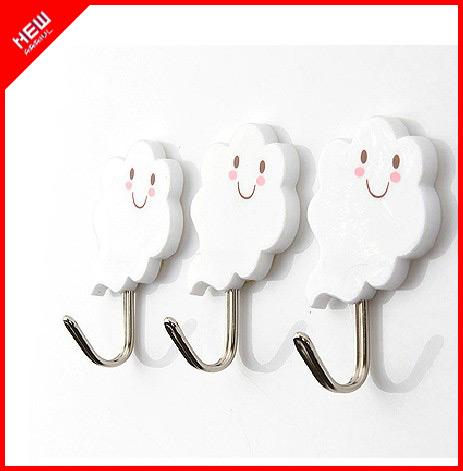 6 stuks gratis verzending creatieve witte wolk gezicht muur haak sterke kleverige haak hanger - Facing muur voor badkamer ...