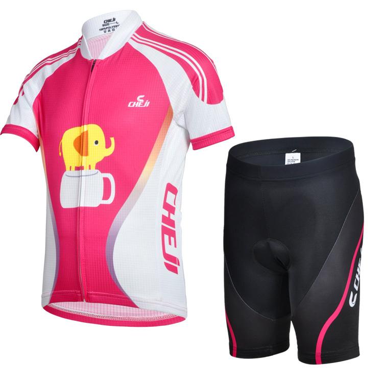 Boys and girls Coffee Kids elephant Cycling Jerseys Pink short Sleeve Jersey+Breathable Moisture wicking short pants Jersey Set(China (Mainland))