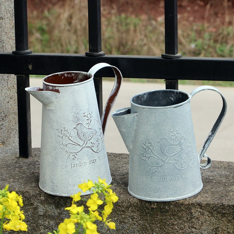 Watering Cans Flowers Bucket Metal Barrel Vases Vintage Zakka Style Home Gardening Ornaments Retro Metal Craft Artificial Holder(China (Mainland))