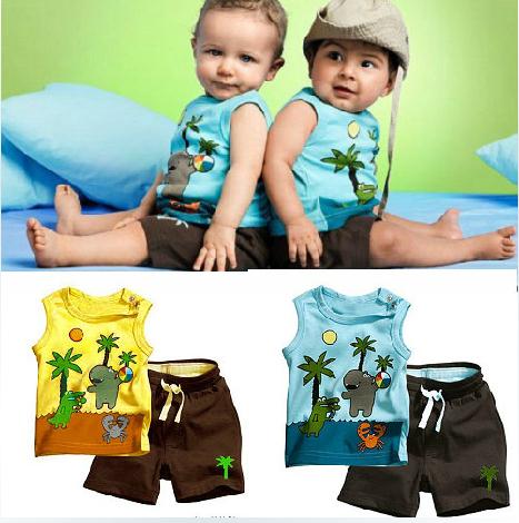 Kids Infant Toddler Baby Boy Boys Summer Clothes Set Coconut Tree Sleeveless T Shirt T-Shirt Vest + Shorts Pants Sets  -  DealinBlue Trade Co., Ltd. store