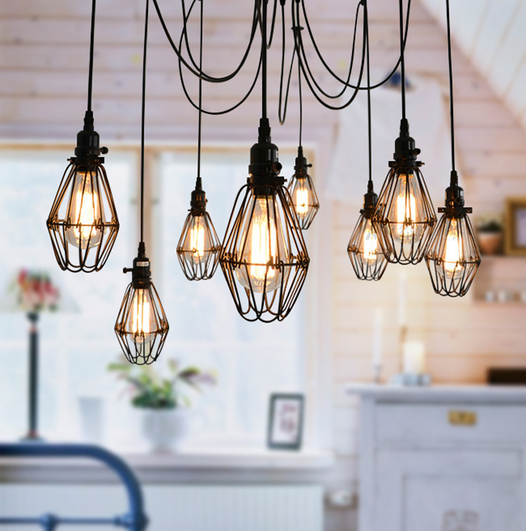 Фотография Black Cable Unique American Style Edison Pendant Light,Vintae Bird Cage Decoration Pendant Lamp 5/6/8/10/12 Heads E27 110V/220V