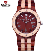 SKONE Date Natural Wooden Watches Men Antique Casual Watch Luxury Brand Roman Analog Quartz Wristwatch Hours relogio masculino
