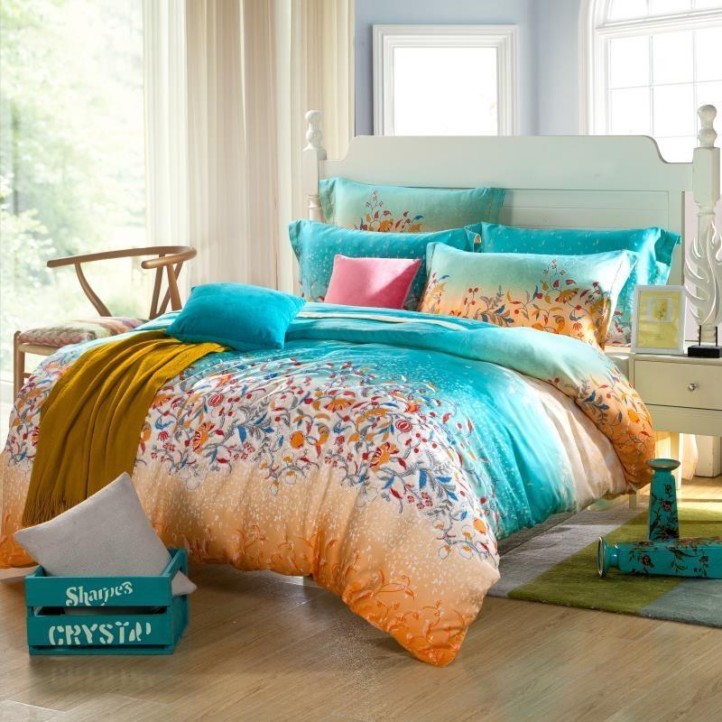 teal blue and orange tribal floral print full queen size 100 soft modal tencel bedding sets in. Black Bedroom Furniture Sets. Home Design Ideas