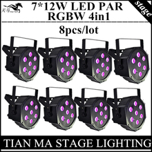 8pcs / 7X12W LED PAR lights RGBW 4in1 flat par led dmx control disco lights professional dj equipment(China (Mainland))