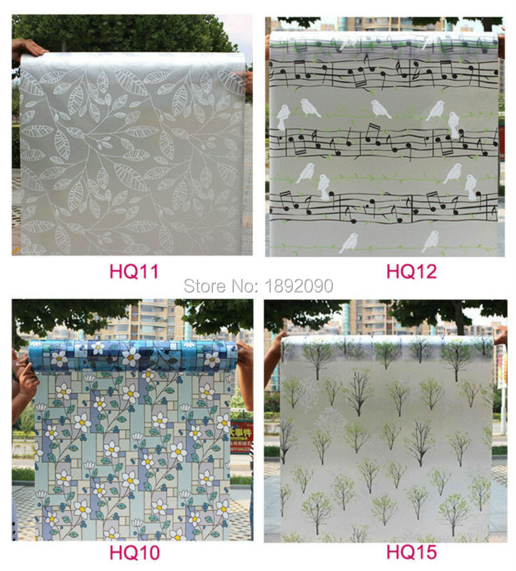 45*200cm Privacy Stained Window Film Opaque Frosted Window Sticker Pegatinas Para Ventanas Vinyl Flower Bathroom HQ11(China (Mainland))