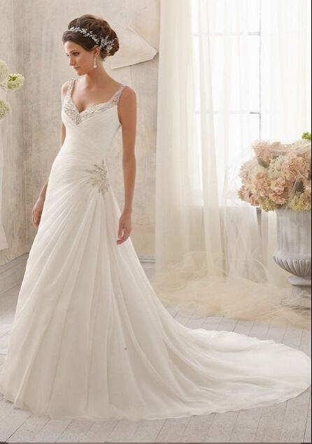 2015 New Collection Mermaid v-neck Chiffon lace wedding dress Bridal Gown sequined sleeveless sweep vestidos de novia 2D00058 - ebelz forever store