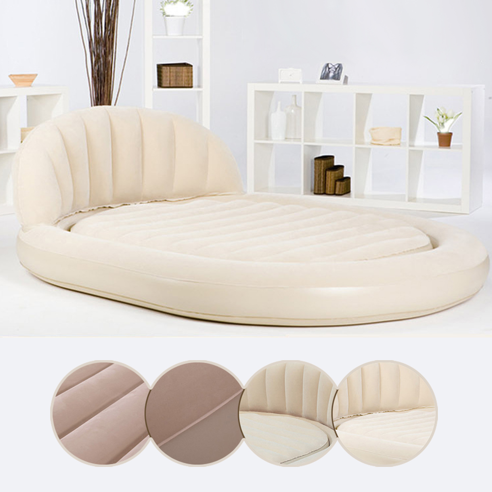 Гаджет  Double Oval Backrest Flocking Surface Inflatable Air Mattress Bed Outdoor Bedroom Ultra Daybed  Lounger Airbed None Мебель